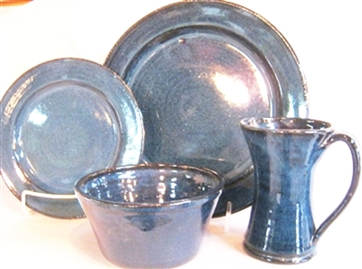 Traditions Pottery Handmade dinnerware. 4 piece place setting, Plate, salad plate,  bowl,and rimmed mug. Michael and Janet Calhoun Blowing Rock NC . Oven, Microwave, and dishwasher safe