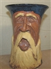"Traditions Pottery, Mountain man vase by Michael Calhoun. Wheel thrown, hand sculpted. 8-9"" tall. Collectors,"