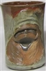 "Traditions Pottery SANTA CLAUS FACE MUG by Michael Calhoun. Wheel thrown, wood fired, hand sculpted.  5"" tall. Pre order, Ugly Jug, Collectors, Great for Christmas, Hat over the eyes"