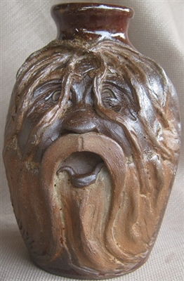 "Traditions Pottery MINI HARRY POTTER FACE JUG.  with lots of hair in eyes. Jug by  Michael Calhoun. Wheel thrown, wood fired, hand sculpted.  3 to 4 "" tall.  Ugly Jug, Collectors, folkart. Folklore,"