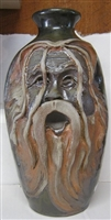 "Traditions Pottery HARRY POTTER FACE JUG by Michael Calhoun. Wheel thrown, wood fired, hand sculpted.  8 to 9"" tall. Pre order, Ugly Jug, Collectors,  FACE JUG OF A MAN WITH LOTS OF HAIR.  hIPPIE."