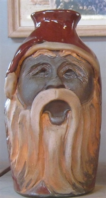 "Traditions Pottery MINI  OLD WORLD SANTA FACE, with hat over his eyes, Santa is tired.  JUG by Michael Calhoun. Wheel thrown, wood fired, hand sculpted.  3 to 4 "" tall.  Ugly Jug, Collectors, folkart. Folklore, Great Christmas Gift, St Nick"