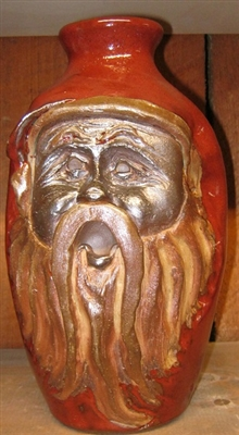 "Traditions Pottery  oLD WORLD sANTA, SANTA CLAUS FACE JUG by Michael Calhoun. Wheel thrown, wood fired, hand sculpted.  10-12"" tall. Pre order, Ugly Jug, Collectors, Great for Christmas"