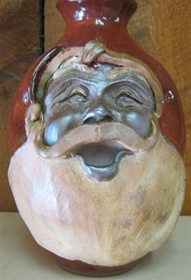 "Traditions Pottery SANTA CLAUS FACE JUG by Michael Calhoun. Wheel thrown, wood fired, hand sculpted.  10-12"" tall. Pre order, Ugly Jug, Collectors, Great for Christmas"