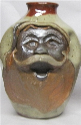 "Traditions Pottery SANTA CLAUS FACE JUG by Michael Calhoun. Wheel thrown, wood fired, hand sculpted.  8 to 9"" tall. Pre order, Ugly Jug, Collectors, Great for Christmas"