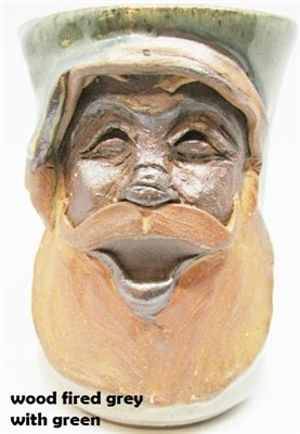 "Traditions Pottery SANTA CLAUS FACE MUG by Michael Calhoun. Wheel thrown, wood fired, hand sculpted.  5"" tall. Pre order, Ugly Jug, Collectors, Great for Christmas"