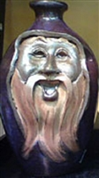 "Traditions Pottery WIZARD FACE JUG by Michael Calhoun. Wheel thrown, wood fired, hand sculpted.  8 to 9"" tall. Pre order, Ugly Jug, Collectors, Great for Christmas, Wizard,  Hobbit.  Whimsical"
