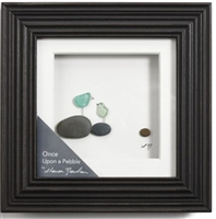 "Demdaco Pebble wall art with Sharon Nowlan. Named Once Upon A Child with sea glass.   Can hang or sit with back easel. Measures 6"" square.  Nicely framed. Great gift, Storytelling, Mother and Child"
