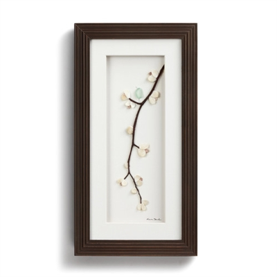 Demdaco pebble wall art by Sharon Nowlan, Singing in the Spring. Spring blossoms and birds. twigs, and sea shells, Sit or hang 8 x 15.