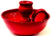Red Candle holder by Original Owens Pottery