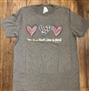 Love is patient, love is kind Ladies tee shirt by US made. Grey with hearts and animal print.   Small to XXX large