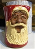 "Santa Claus face mug by Michael Calhoun of Traditions Pottery, NC  Wheel thrown, hand sculpted, hand carved.   5"" tall,  Ugly Jug, Collectors, Great for Christmas, St. Nick. Toby mug"