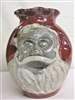 "Santa Claus face vase  by Michael Calhoun of Traditions pottery in NC. Wheel thrown, hand sculpted.  8 to 9"" tall. Pre order, Ugly Jug, Collectors, Great for Christmas"