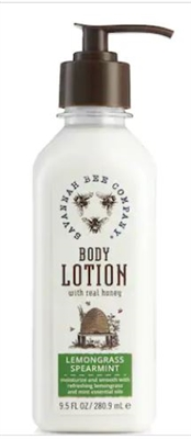 Savannah Bee honey body lotion in various scent. Made with real honey. Tupelo, Lemongrass Spearmint, Orange Blossom, and Rosemary Lavendar. Plastic pump bottle. 9.5 ounces. No parabans. Natural ingredients.