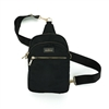 Kedzie brand roundtrip convertible sling bag. Crossbody or sling bag.  Gold tone hardware. Removable strap. Beige. 3 compartments. Easy open zippers. Black