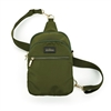Kedzie brand roundtrip convertible sling bag. Crossbody or sling bag.  Gold tone hardware. Removable strap. Beige. 3 compartments. Easy open zippers. Olive