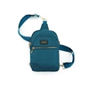 Kedzie brand roundtrip convertible sling bag. Crossbody or sling bag.  Gold tone hardware. Removable strap. Beige. 3 compartments. Easy open zippers. Teal